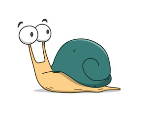 Snail Cartoon, a hand drawn vector cartoon illustration of a cute snail.