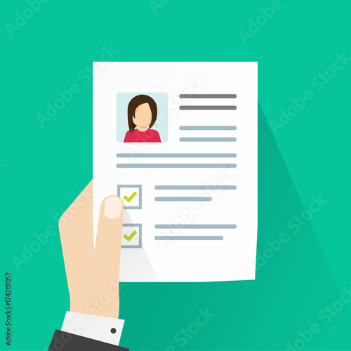 Personal information on paper sheet vector illustration, idea of cv ...