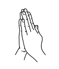 Praying Hands Doodle, a hand drawn vector doodle illustration of praying hands.