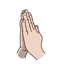 Praying Hands Vector Illustration, a hand drawn vector cartoon illustration of praying hands.