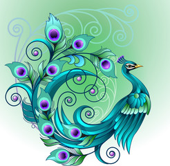 Vector illustration beautiful green peacock modification