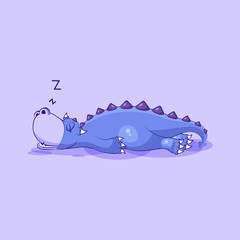 Vector Emoji character cartoon dragon dinosaur sleeps on the stomach sticker emoticon