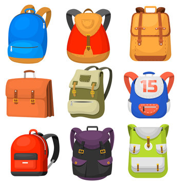 Back to School kids school backpack vector illustration