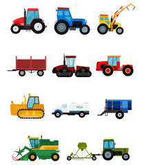 Agriculture industrial farm equipment harvest machine tractors combines and machinery excavators vector illustration.