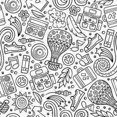 Cartoon vector hippie seamless pattern