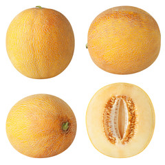 Isolated melon collection. Yellow melon fruit isolated on white background, with clipping path