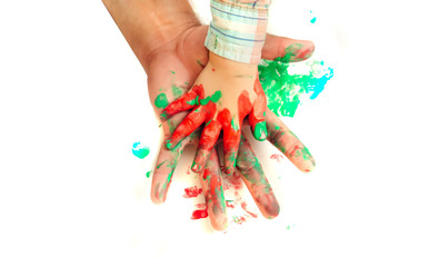 Hands painted in colorful paints on white background