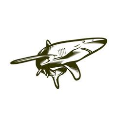 Big shark, engraving style vector illustration