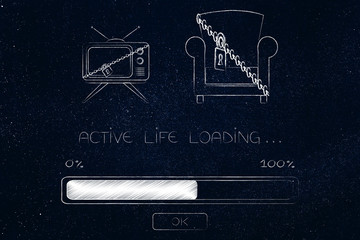 locked up couch & tv and Active Life Loading progress bar