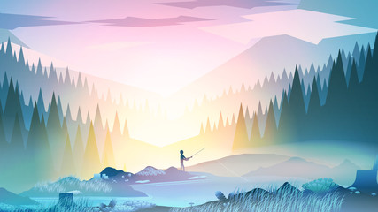 Fisherman with Rod, Fishing at Mountain Lake, Morning Landscape - Vector Illustration