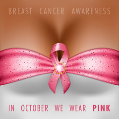 Breast cancer awareness month. Silk pink ribbon on the female bust. Vector Illustration
