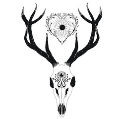 Bohemian deer skull with sun and heart pattern
