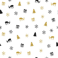 Christmas New Year seamless pattern with snowflakes christmas tree deer. Holiday background. Gold snowflakes. Xmas winter decoration. Golden texture. Hand drawn illustration. Wrapping gift paper.