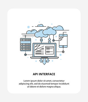 API Application Programming Interface with Laptop, Cloud Data and Mobile. Logo Style, API infographic symbol.