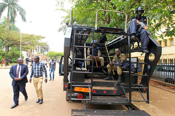 Ugandan anti terrorist police deployed at the entrance of the parliament ahead of proposed age limit amendment bill debate by lawmakers, a move to change the constitution to extend the president's rule, in Kampala