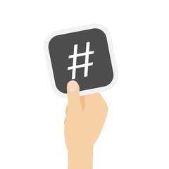 Hand hält graue Karte - Hashtag