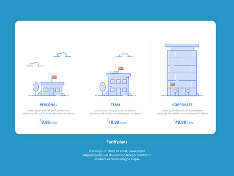Set Web Tariffs: Personal, Team, Corporate. Interface for the site. UI UX vector banner for web app. Pastel pricing table, banner, list with tariff plan for website in flat design.