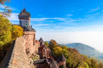 Fotobehang Kasteel Haut-koenigsbourg - old castle in beautiful Alsace region of France near the city Strasbourg