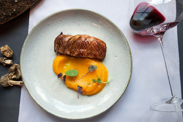 duck breast fillet with mashed potatoes spicy pumpkin