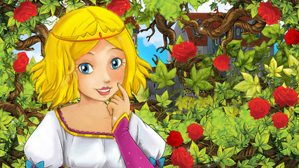 Cartoon scene of beautiful princess in the garden - castle in the background - illustration for children