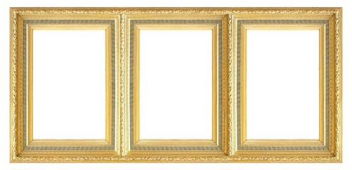 Golden frame of three parts (triptych) on a white background for paintings, mirrors or photos