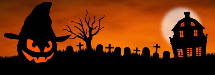 Halloween panoramique citrouille cimetière maison hantée
