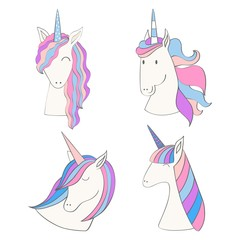 Magic cute unicorns collection for your design