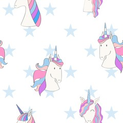 Magic cute unicorn with stars. Vector seamless pattern