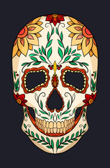 Color  illustration of a sugar skull. The Feast of the Day of the Dead. Vector element for your creativity