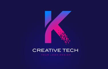 K Initial Letter Logo Design with Digital Pixels in Blue Purple Colors.