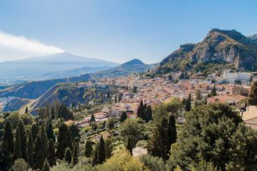 Taormina und Ätna auf Sizilien Fototapete