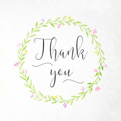 Thank you word and hand drawing watercolor flower wreath on white paper background, thank you card, banner