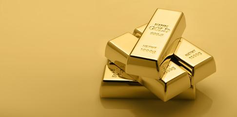 Gold bullion stack. Set of gold bars.