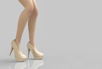 3d rendering. Lady slim legs wearing vanilla color high heels shoes on gray background with clipping path