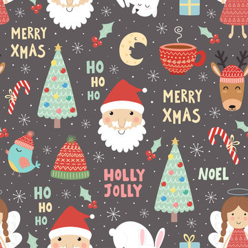 Funny Christmas seamless pattern with Santa Claus, deer, rabbit, angel, moon, bird and christmas tree. Winter holidays cute background. Vector illustration