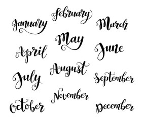 Cute brush calligraphy of months of the year