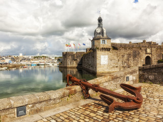 Clock tower of Walled Town at Concarneau, France
