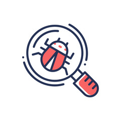 Bug in magnifying glass - modern vector line dsign single icon