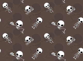 Big Head Skeleton Poses Cartoon Seamless Wallpaper