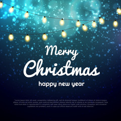 Vector Christmas lights bokeh background with party lights bright vector poster