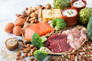 Assortment of healthy protein source and body building food
