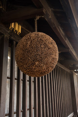 Sugitama (Cedar leaf ball) in front of an old alcohol factory at Fushimi in Kyoto, Japan