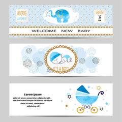 Baby shower boy banners set. Vector illustration.