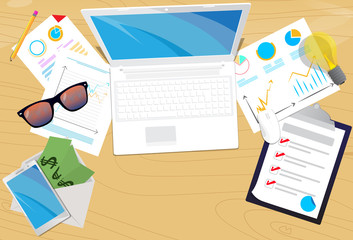 Top view of office desk. Vector illustrated cartoon background with Lap top,smart phone, notebook, pencil and charts on papers.