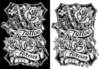 Graphic black and white tattoo machine and roses