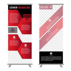 Red Color Business Roll Up. Standee Design. Banner Template. Presentation and Brochure Flyer. Vector illustration