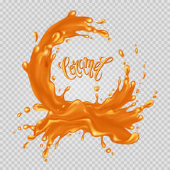 "Caramel frame. Liquid splash and drops on a transparent background. Handwritten inscription ""Caramel"". Vector illustration."