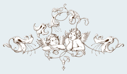 Vintage decorative element engraving with Baroque ornament pattern and cupids