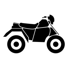 ATV motorcycle on four wheels black icon .