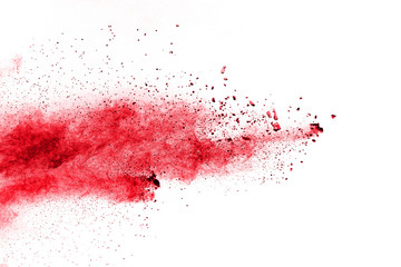 Red Color powder splash cloud isolated on white background